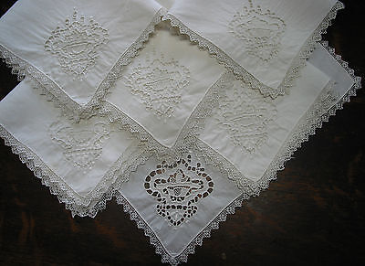 set of 6 Antique Needle Lace Point de Venice Embroidered Napkins  Italy, 12.5""