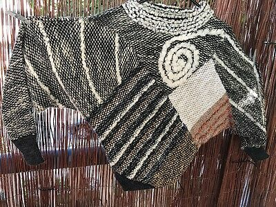 Abstract Patterned Multi Coloured & Layered Vintage Sweater Jumper Pullover