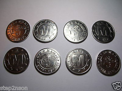 4 Super Nintendo Arcade vintage vending tokens Coins Retro Nickel Silver ** USED