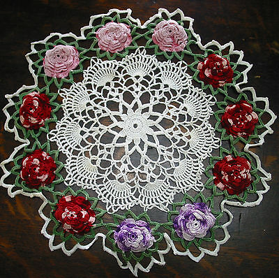 """Vintage Hand crochet 3D(dimensional) Doily 16"""",  Red& Pink & Purple Roses"""