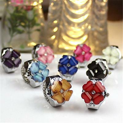 Practical Superior Four Clover Round Dial Finger Ring Quartz Watch For Lady W>KW