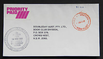 Australia 1988 PAID AT GRIFFITH NSW priority paid commercial cover Postmark