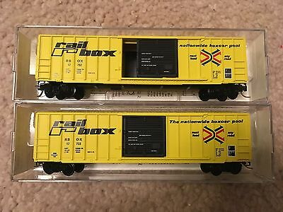 Lot of 2 n scale Microtrains Railbox 50' boxcars