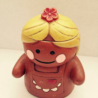 Adorable Vintage Retro Shabby Chic Gingerbread Girl Cookie Jar Rare
