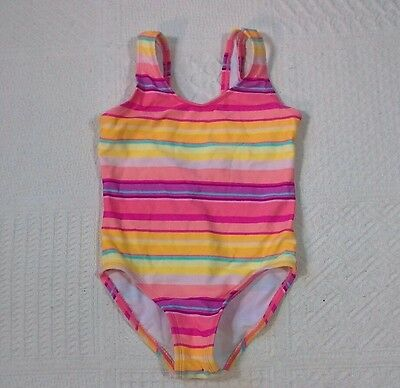 Circo Girls One Piece Swimsuit SIze 4T Stripes Pink Orange Yellow P07