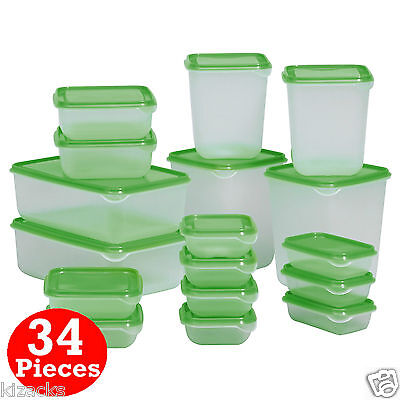 IKEA 34 Piece Plastic Food Storage Containers Saver Container Kitchen PRUTA NEW