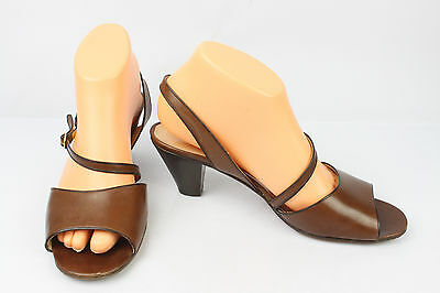 VINTAGE Sandals A.TESTONI All Brown Leather T 39,5 VERY GOOD CONDITION