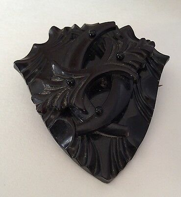 Victorian Mourning Brooch Jet? Vulcanite? Bog Oak