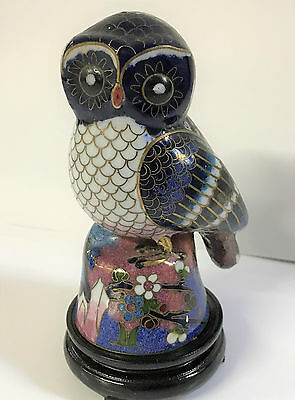 Stunning Vintage Chinese Cloisonne Figure of an Owl with Wooden Stand