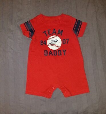 EUC Carters Baby Boy Clothes 3 Months One Piece Short Sleeve Baseball Romper