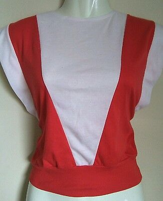 Vintage 80's red & white top sz sml to med