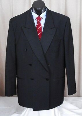 Black Wool and Mohair XL Double Breasted Suit Jacket Blazer Coat 42R 107cm Chest