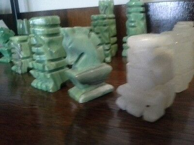 Collectable carved stone (onyz?) Chess pieces