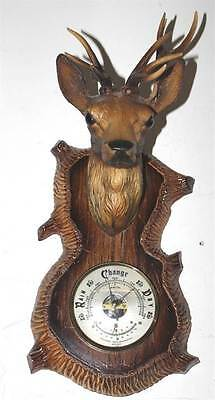 Vintage Barometer with Thermometer with Reindeer Head, Wall Hanging England 1970