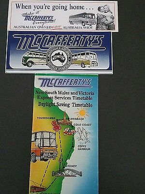 McCaffertys bus timetable/collectable stickers