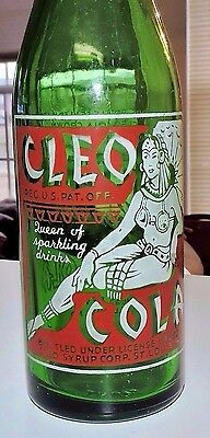 "Rare Straight Side  Cleo Cola Green A.c.l.bottle "" St. Louis, Mo., Butte, Mt. """