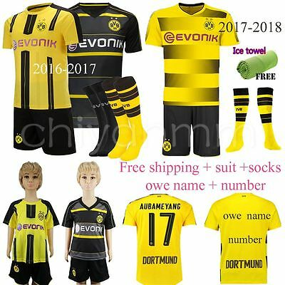 17/18 NEW Football Home Away Jersey Kit Short Sleeve for 3-14Y Kids Suit+socks