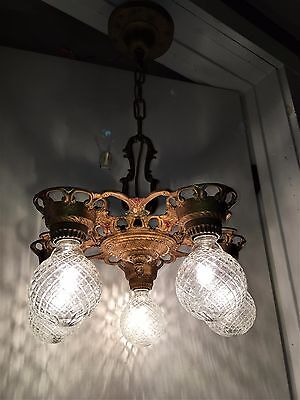 VTG 1920's Art Deco Chandelier Antique Polychrome Ceiling Light Fixture Nouveau