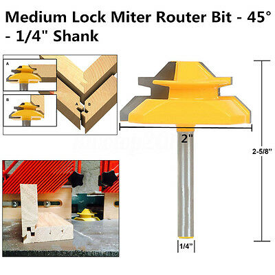 "Carbon Steel Alloy Medium Lock Miter Router Bit - 45°- 3/4"" Stock - 1/4"" Shank"