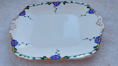 Pre 1936 Bishop & Stonier Bisto Twin-Handled Bread Plate Blue Flowers Art Deco