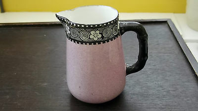 Pre 1936 Bishop And Stonier Bisto Small Milk Jug Mottled Pink Black Floral Band