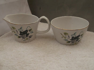 Crown Clarence [Cws] Pottery Milk Jug And Sugar Bowl With A Leaf Pattern