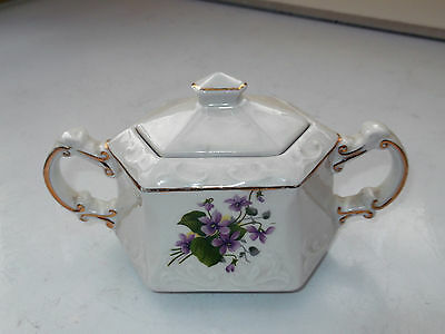 Ellgreave Lidded Shaped Sugar Bowl With Twin - Handles  Purple ?violet Pattern