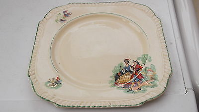 1922 - 39 Burgess Brothers Squarish Plate  With A Couple In Medieval Dress