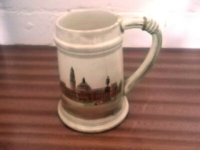 Brentleigh Tankard Crested Cardiff With  A Picture Of Cardiff City Hall