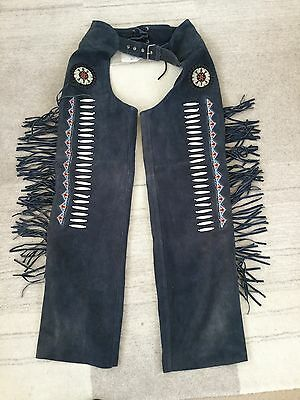 Blue Suede Leather Beaded Fringed Long Chaps Horse Tech Fully Lined Cowboy Large