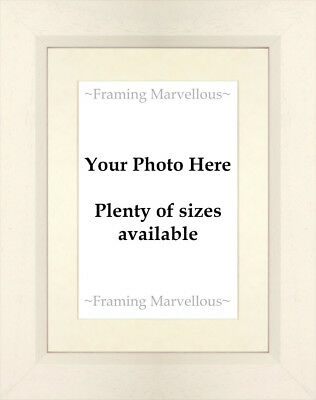 New Custom Calico White Wooden Photo Picture Frame with Ivory Mount Choose size