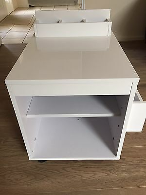 High Gloss White Extendable Side Table with Storage