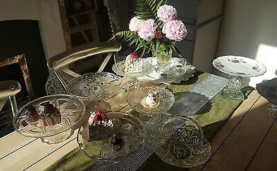 vintage style glass cake stands(job lot x 15)