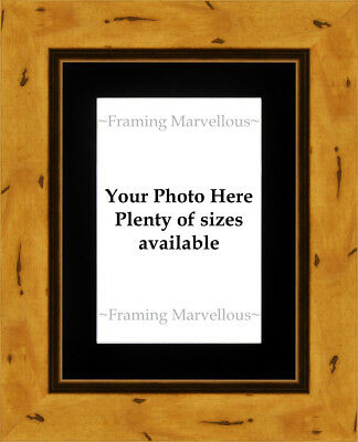 Rustic Effect Wooden Photo Picture Frame with Black Mount - Choose size