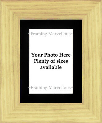 Oak Effect Photo Picture Frame with Black Mount - Choose size