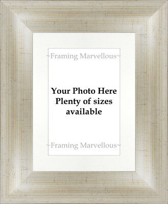Antique Silver Effect Photo Picture Frame with White Mount - Choose size