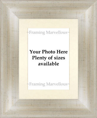 Antique Silver Effect Photo Picture Frame with Ivory Mount - Choose size
