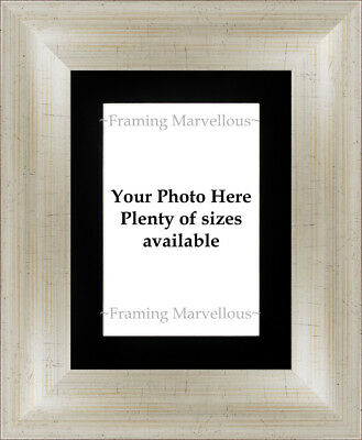 Antique Silver Effect Photo Picture Frame with Black Mount - Choose size