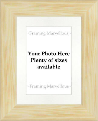 Natural Pine Wood Photo Picture Frame with White Mount - Choose size