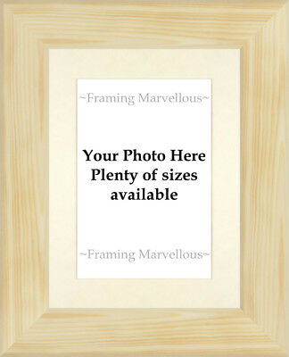 Natural Pine Wood Photo Picture Frame with Ivory Mount - Choose size