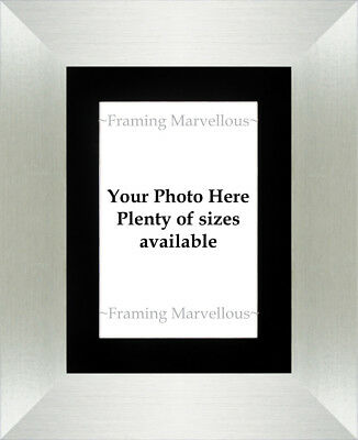 Brushed Silver Effect Photo Picture Frame with Black Mount - Choose size