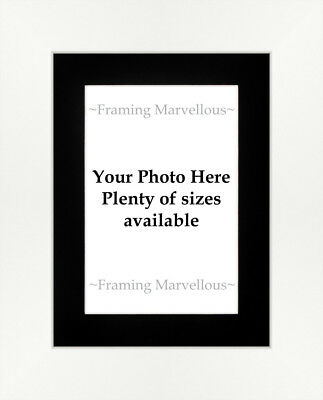 Matt White Effect Photo Picture Frame with Black Mount - Choose size