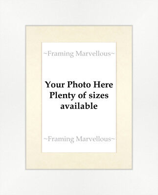 Matt White Effect Photo Picture Frame with Ivory Mount - Choose size