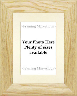 Solid Oak Wood Photo Picture Frame with Ivory Mount - Choose size