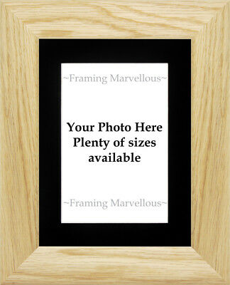 Solid Oak Wood Photo Picture Frame with Black Mount - Choose size
