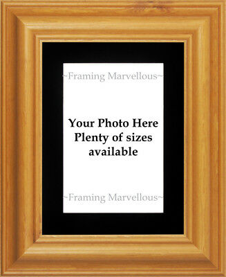 Honey Pine Wood Photo Picture Frame with Black Mount - Choose size