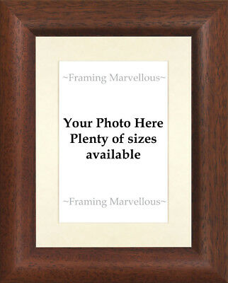 Dark Wood Effect Photo Picture Frame with Ivory Mount - Choose size