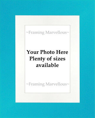 Blue Finish Photo Picture Frame with White Mount - Choose size