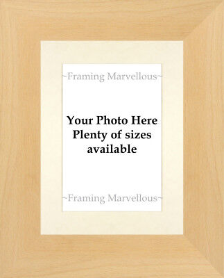 Real Beech Wood Photo Picture Frame with Ivory Mount - Choose size