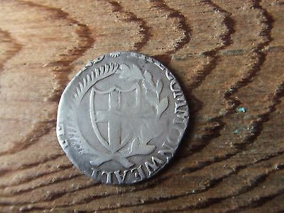 Oliver Cromwell.  Commonwealth.  1654.  Silver Shilling. Rare  Nice Condition.